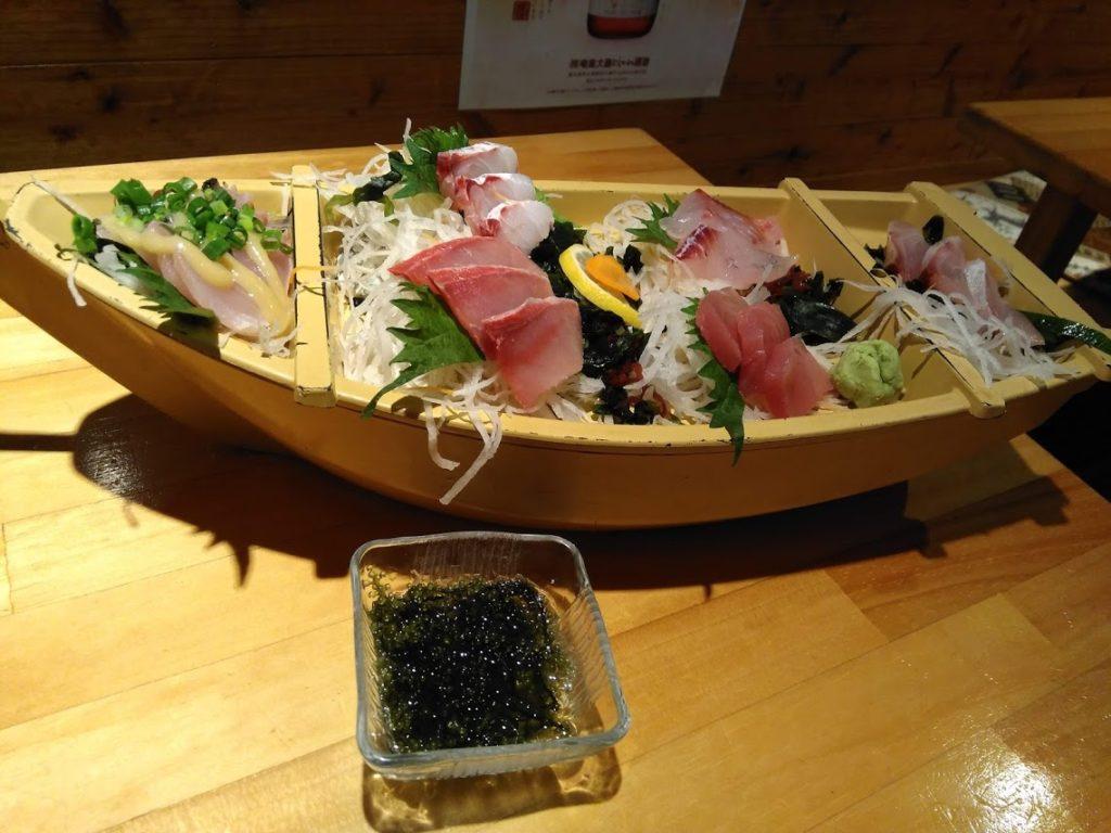 海ぶどうと地魚の船盛り
