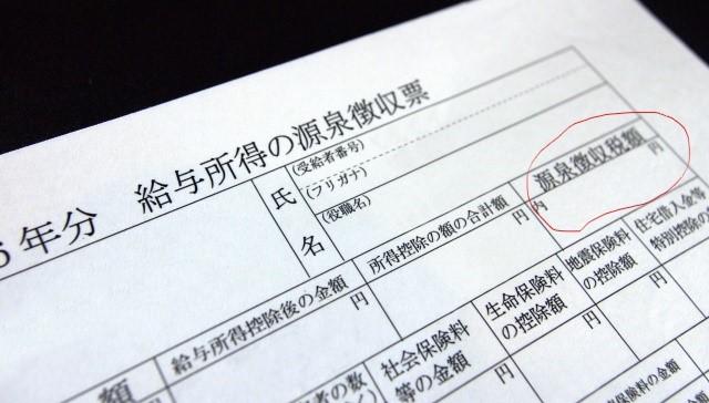 源泉徴収票の源泉徴収税額
